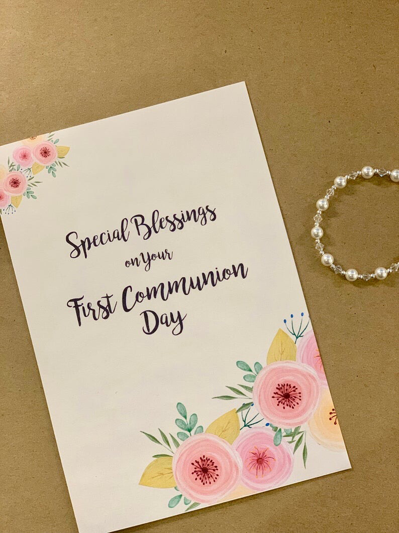 Special Blessings on your First Communion Day- Blank Card