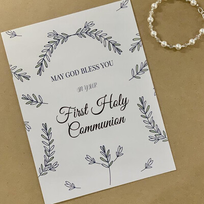 May God Bless You on your First Holy Communion - Blank Card