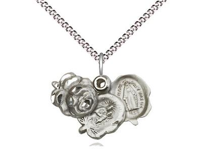 Sterling Silver Rosebud Miraculous Medal 0202SS/18S
