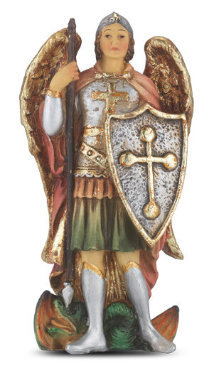 """St Michael Painted Resin Statue 4"""""""