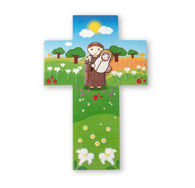 Resin Wall Cross St Anthony Little Drops