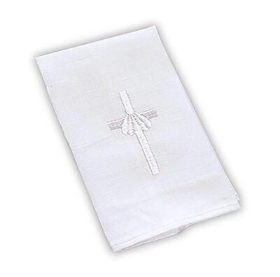 Baptismal Napkin White Cross Shell