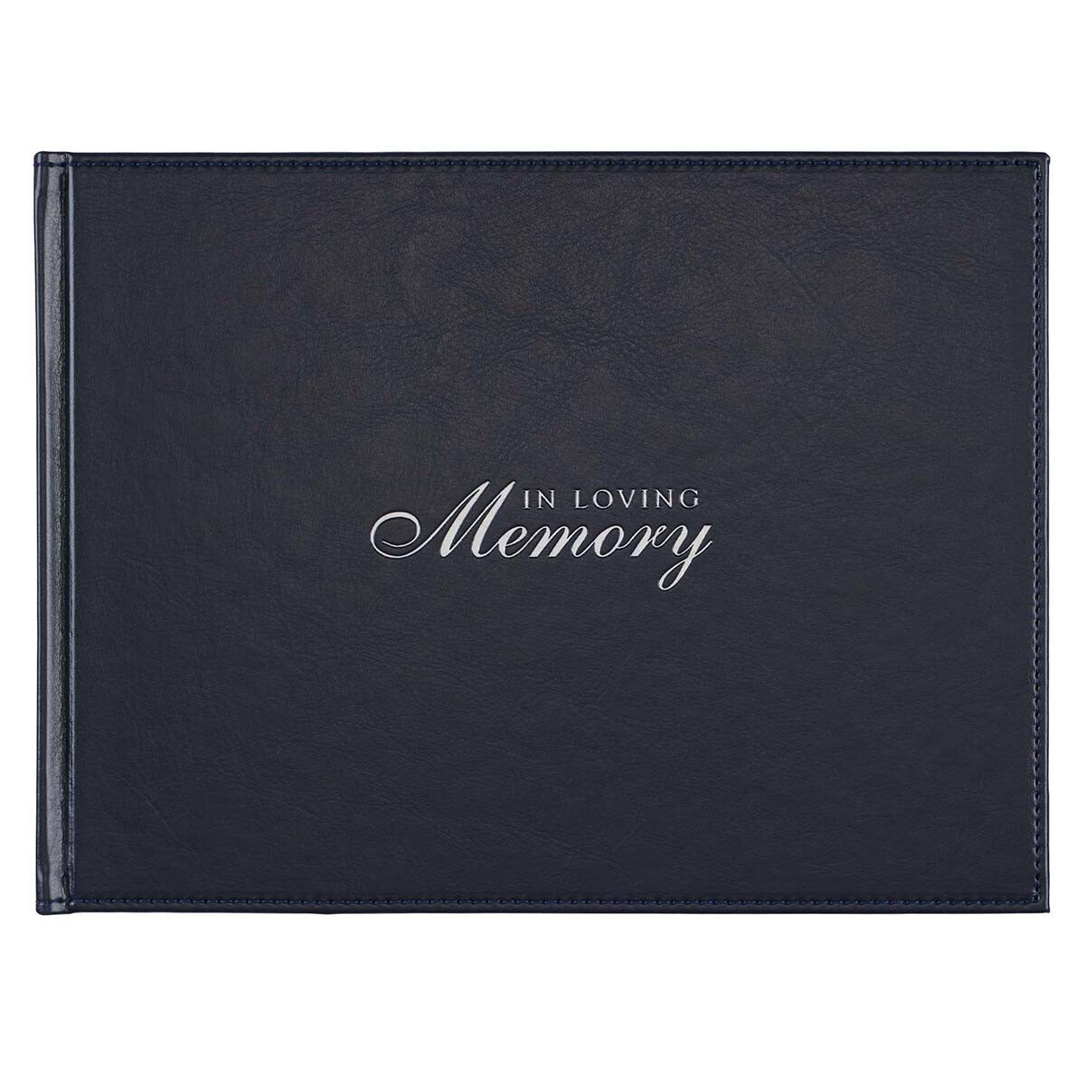 In Loving Memory Navy Faux Leather Medium Guest Book GST38