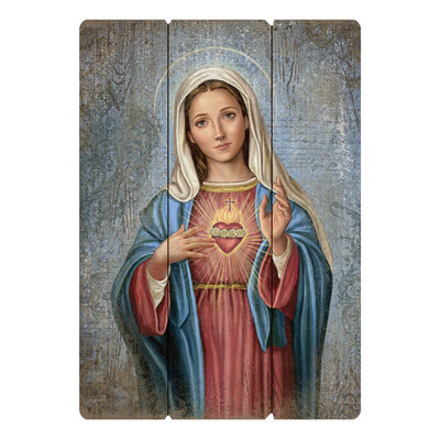 """Immaculate Heart Large 27"""" Pallet Wall Plaque"""