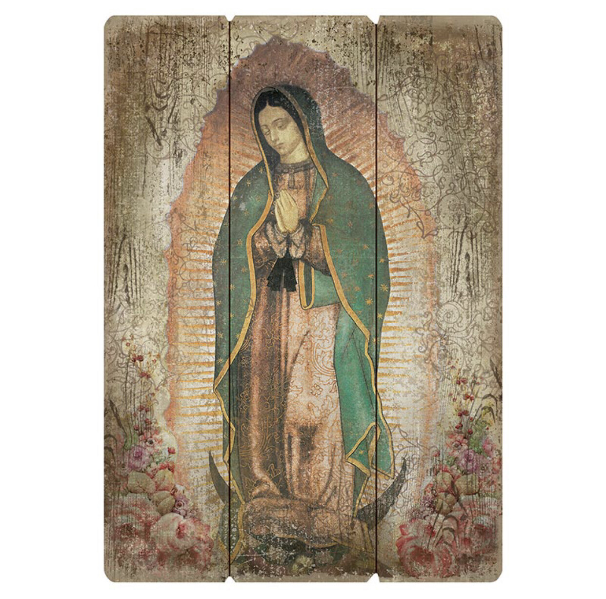 """Our Lady Of Guadalupe Large 27"""" Pallet Wall Plaque"""