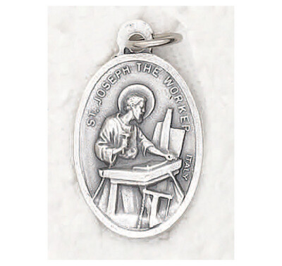St Joseph the Worker Oxidized Medal