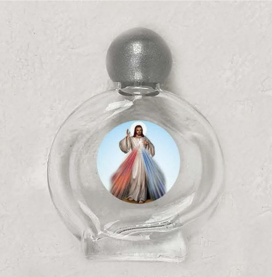 Divine Mercy Small Glass Holy Water Bottle