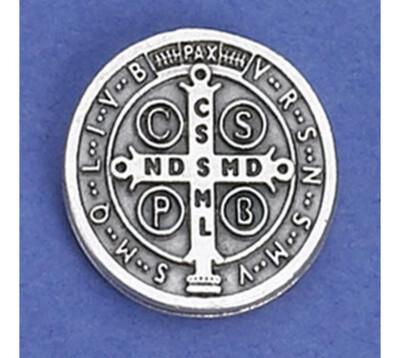 Saint Benedict Medal Lapel Pin Silver Tone