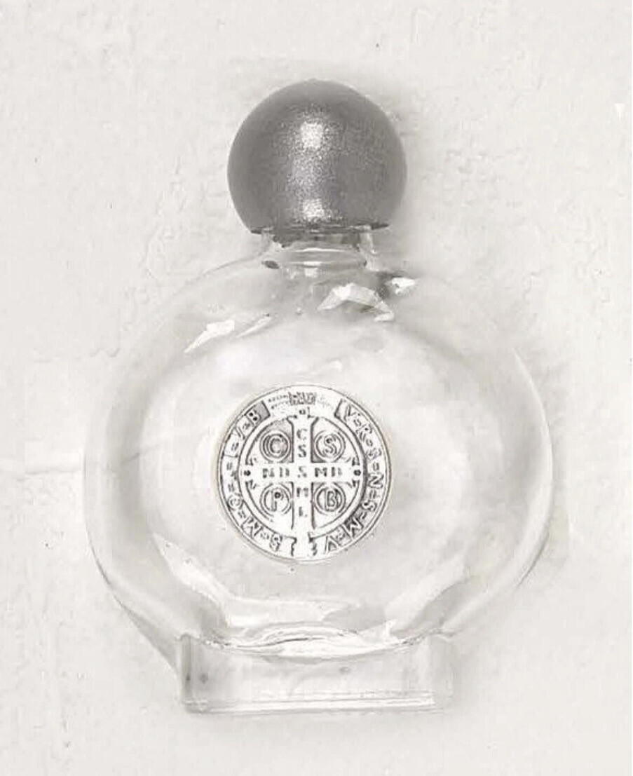 Saint Benedict Small Silhouette Glass Holy Water Bottle