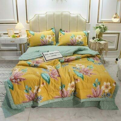 Комплект постельного белья Сатин с Одеялом OB015 Евро наволочки 50-70