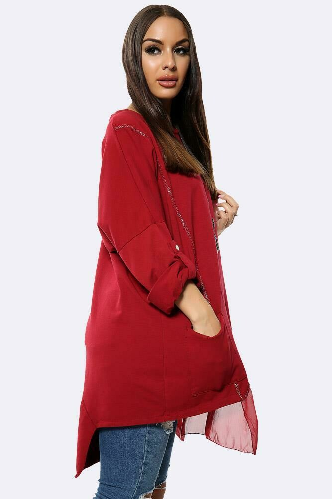 Plain Button Turn Up Sleeves Necklace Top