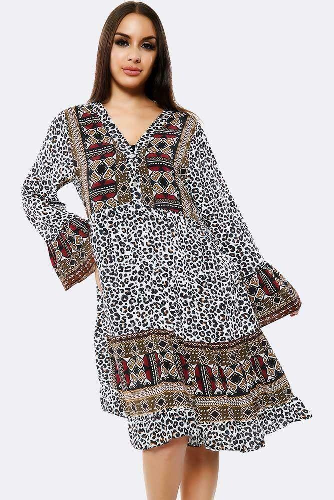 Leopard Aztec Body Print Tunic Panel Dress