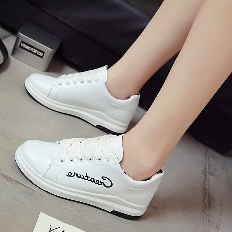 White shoes women's shoes wild autumn thick-soled casual shoes street shot white shoes