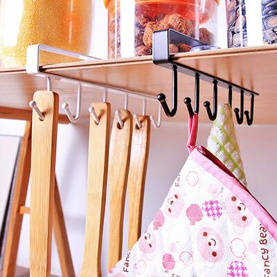 Kitchen Cabinet Under Shelf 6 Hooks Cup Mug Holder Kitchen Iron Hanging Storage Rack Cupboard Organizer Hooks Bedroom Wardrobe