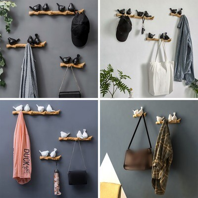 Resin Bird Hooks Hanger Rack Coat Hat Key Wall Mounted Porch Hook Home Room Decorations