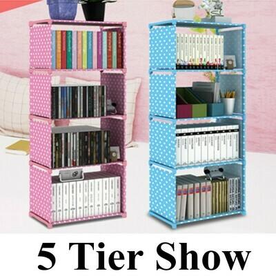 Simple Bookshelf Storage Cabinet Bookcase 5 Tier Shelf Display DVD CD Furniture Storage Shelving Unit for Student