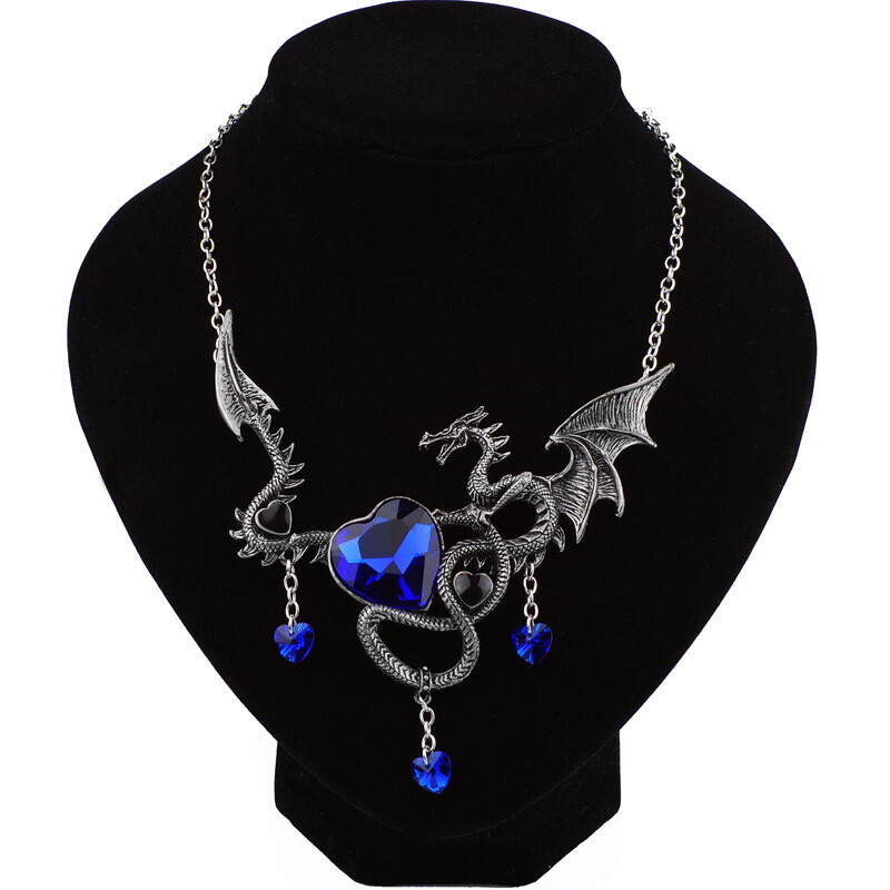 Exaggerated big-name gemstone necklace Personalized fashion heart-shaped sapphire dragon animal oyster alloy necklace