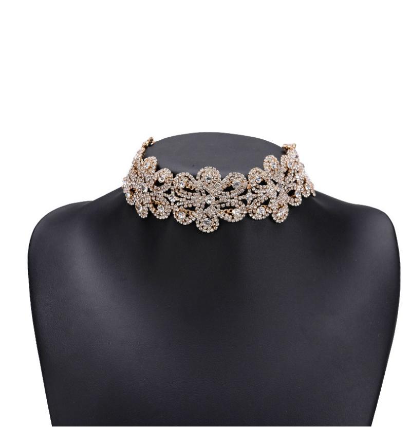 Alloy full diamond necklace