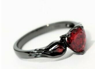 Rubby Red Zirconia Love Rings For Women