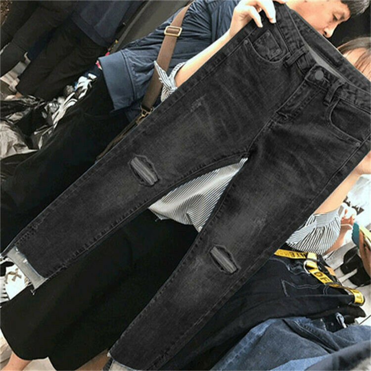 Cropped jeans with high-waist ripped pants