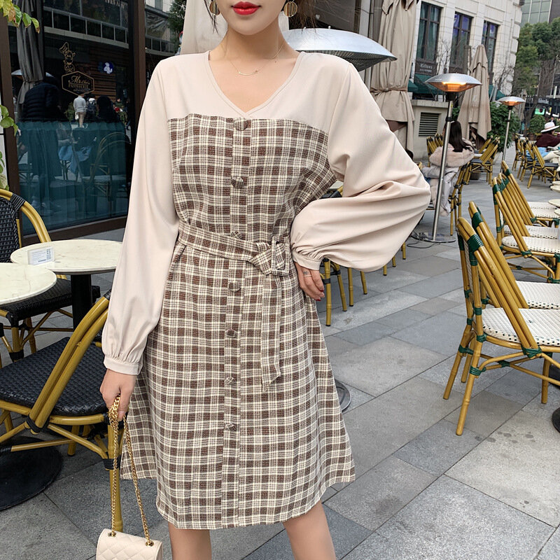 Women's autumn plaid dress