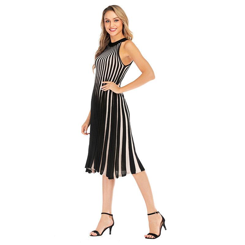 Striped Knit Halter Dress