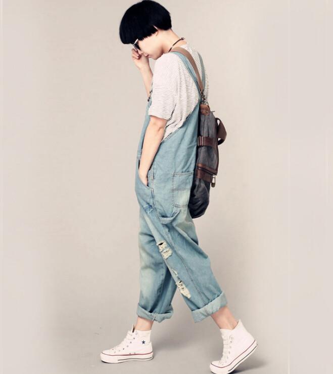 Women's casual loose denim overalls