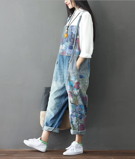 Women's Wide Leg Jeans Full Length Loose Denim Overalls Washed Print Ripped Hole Overalls