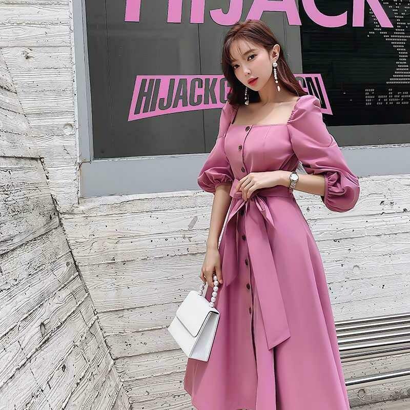 Pink Square Collar Retro Waist Skinny Skirt