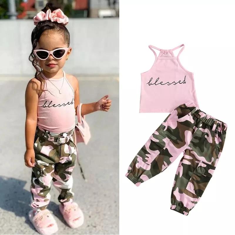 Toddler Girl 2pcs Letter Pattern Summer Suit