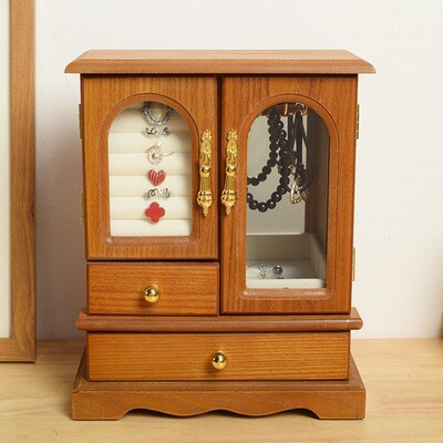 Wooden Jewelry Box, Chinese Style Jewelry Display Box, Handicraft Decoration