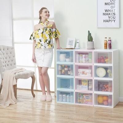 Transparent combination of storage box, drawer type storage cabinet