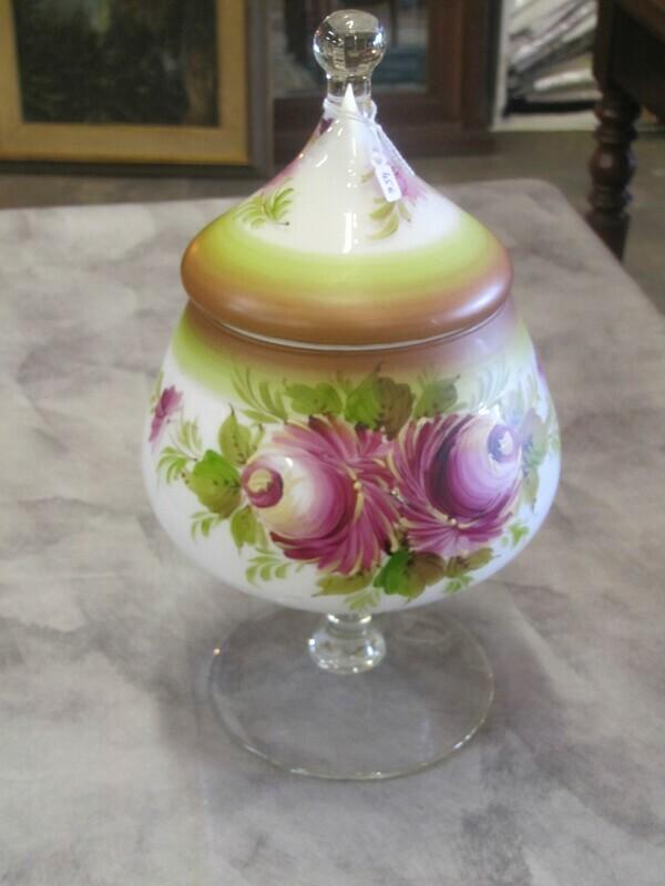 Bonbonnière en verre peint