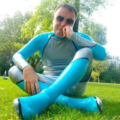 Latex Diagonal Space-Style Catsuit