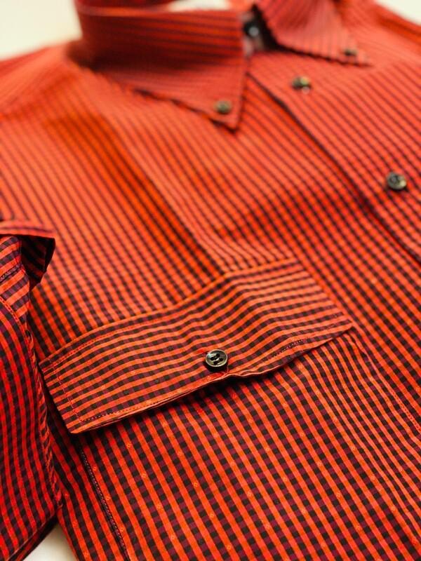 Casual 100% Cotton Quadretto rosso due tasche SPORT