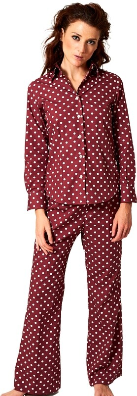 Exclusive Trouser 100% Cotton Pois Bordeaux DOPAN