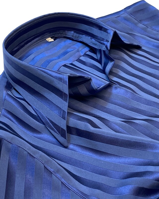 Limited Edition Shirt 100% Silk Rigoni blu Capua