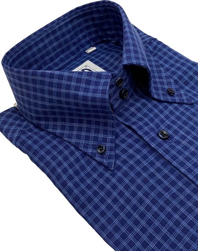 Casual 100% cotton quadretto bluette