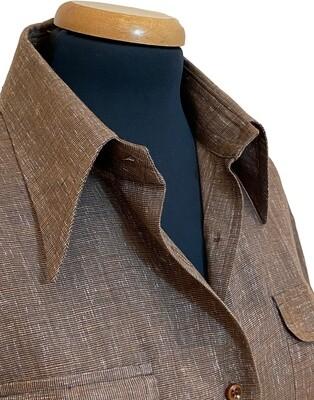 Limited Edition Shirt 100% Linen Safari Marrone Donna