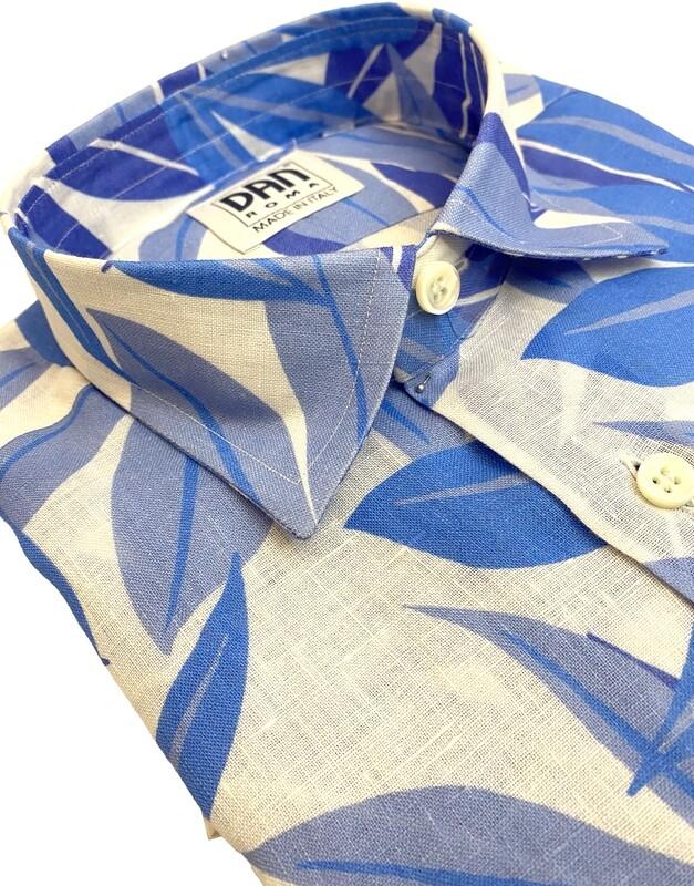 Limited Edition Shirt 100% Linen Foglie celesti UOCAM