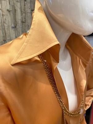 Limited Edition Shirt 100% Silk Capuaarancio Donna