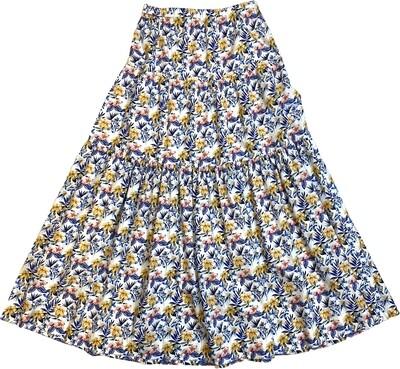 Limited Edition Skirt 100% Cotton Fiorellinibcoblugiallo GONNA