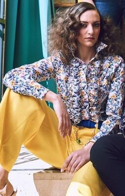 Limited Edition Shirt 100% Cotton fiorellini bcoblugiallo rouches DOCAM