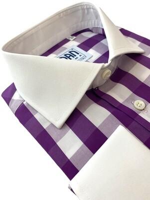 Exclusive shirt 100% Cotton Quadrettoni melanzana CPB