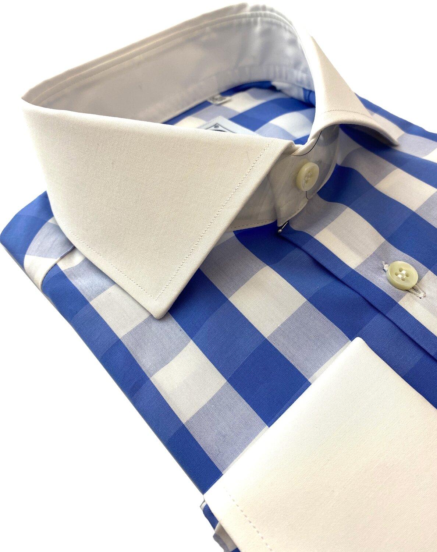 Exclusive shirt 100% Cotton Quadrettoni celesti CPB