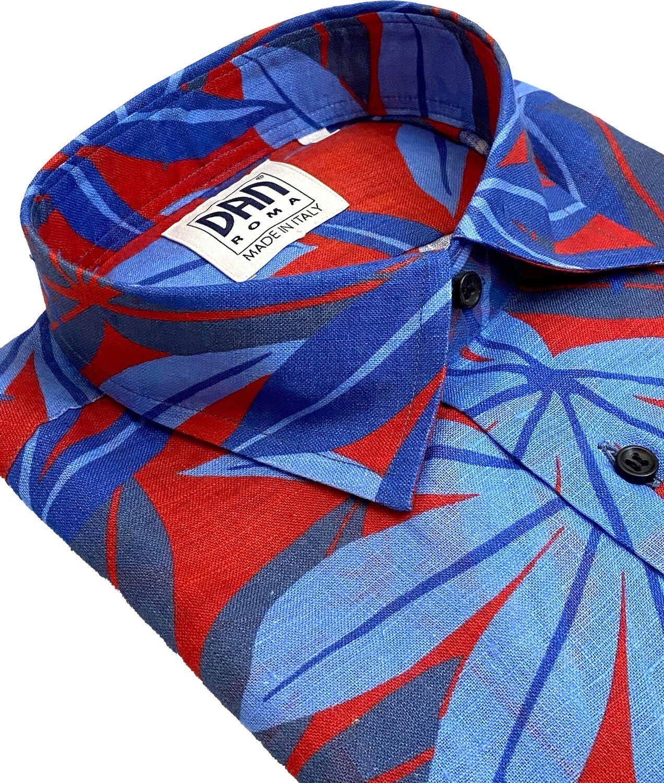 Limited Edition Shirt 100% Linen Palme Rosso Blu LIM