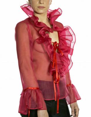 Limited Edition Shirt 100% Silk Acapulco Chiffon Rossa