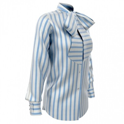 Limited Edition Shirt 100% Crepe de chine righe cel DONNA