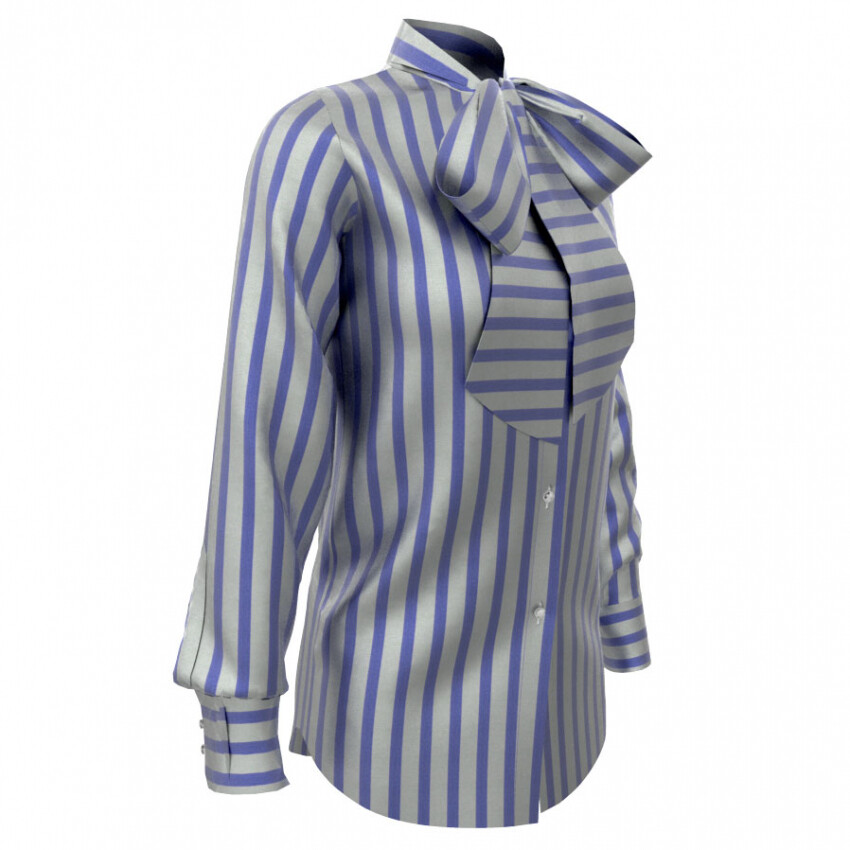 Limited Edition Shirt 100% Crepe de chine righe blu DONNA