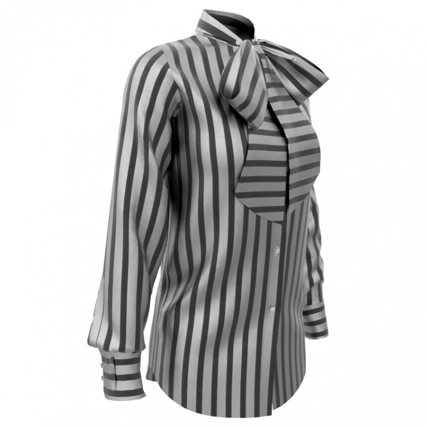 Limited Edition Shirt 100% Crepe de chine righe nere DONNA